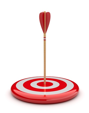 hitting: Arrow in target 3D. success hitting. Business concept. Isolated on white Stock Photo