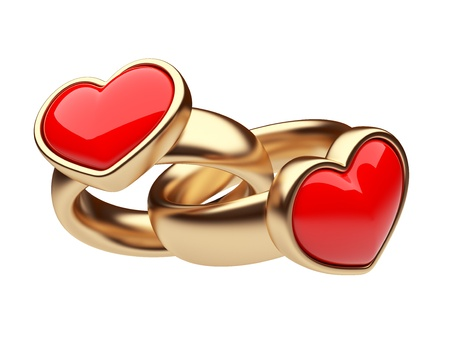 Gold two ring with red heart 3D. Love concept. Isolated on white background photo
