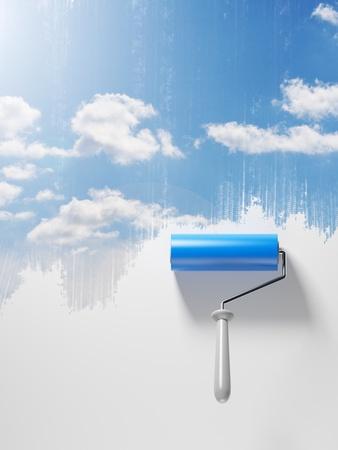clean sky: The drawn sky. 3D an illustration