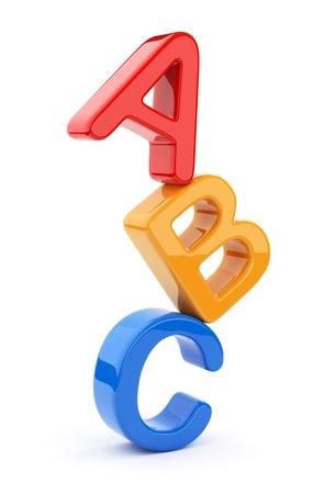 Símbolos de juguete de colores montón de alfabeto. Icono 3D. Educación concepto. Aislado