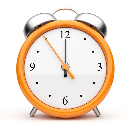 clock icon: Orange alarm clock 3d. Icon. Isolated on white