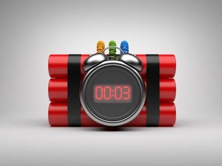 Bombe mit Zeitschaltuhr 3D. Countdown. Auf grauem Hintergrund Standard-Bild