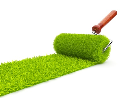Green paint of grass. Roller isolated on white background. 3D illustration Stock Photo