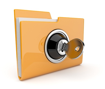 secret privacy: Yellow folder and lock. Data security concept. 3D  Stock Photo