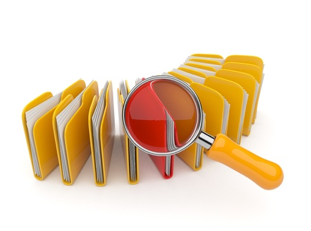 dir: Folder and file search with magnifying glass. 3D isolated on white background