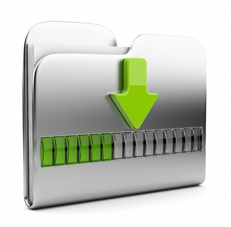 downloading:  Metallic folder 3D icon. Date downloading concept. Isolated on white  Stock Photo