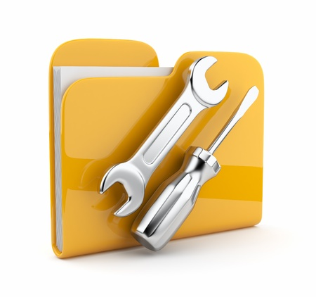 dir: Yellow folder with wrench and screwdriver. Icon 3d . Computer service.  isolated on white