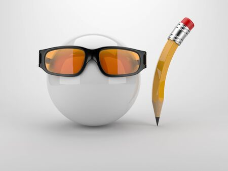 workmanship: Sphere witch glass and pen. Creative concept 3D. On gray background