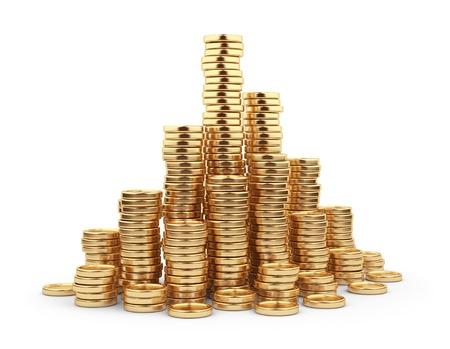 Gold coin: Đồng xu vàng Heap 3D. Khái niệm kinh doanh. Bị cô lập trên nền trắng