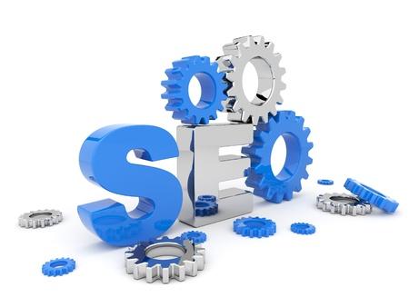 SEO-Optimierung. 3D-Darstellung. Isoliert auf weißem Hintergrund Standard-Bild
