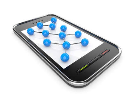 Social network on mobile smartphone 3D. Communication concept. Isolated on white photo
