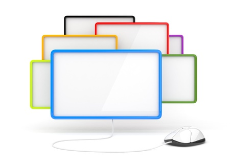 Empty window of messages and computer mouse 3d  Isolated Stock Photo - 12780478
