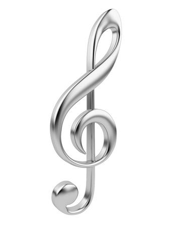 simbolos musicales: Nota musical en 3D met�lico Icono aisladas sobre fondo blanco