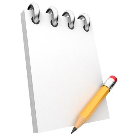 pad pen: Bloc de notas y un l�piz ilustraci�n 3D Foto de archivo
