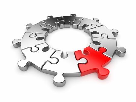 entreprise puzzle: Puzzle Puzzle anneau Innovation concept 3D Isol� sur fond blanc