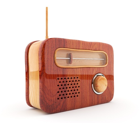 Wooden radio 3D  Retro style  Isolated on white  photo