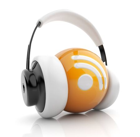 Feed or Rss icon 3D  Blog  Sphere witch audio headphones  Isolated on white photo