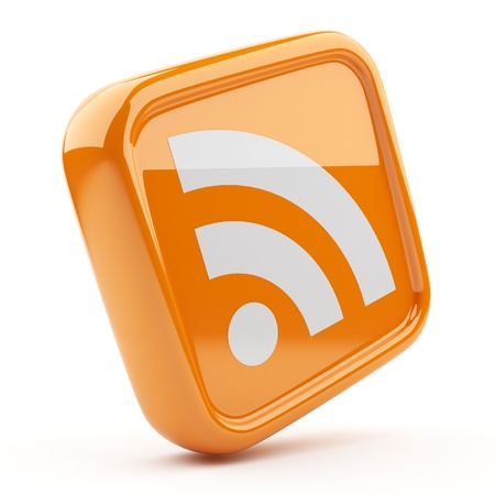 blog icon: RSS orange symbol 3D  Icon isolated on white background