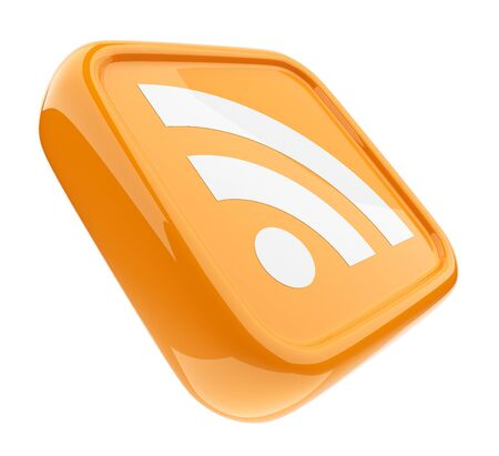 RSS orange symbol 3D  Icon isolated on white  Stock Photo - 12780453