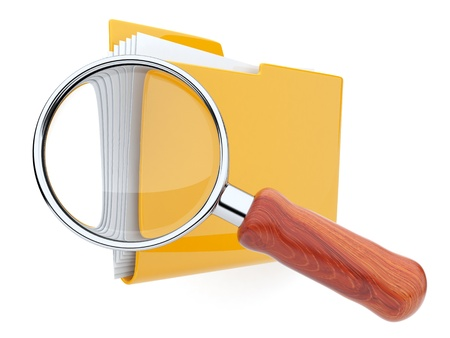 Folders and magnifying glass  File search  3D photo