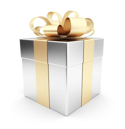 Gift 3D  White box, bow and ribbon  Isolated on white background photo