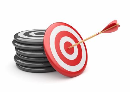 target business: Flecha en el concepto de destino de negocios 3D de �xito contundente aislado en blanco