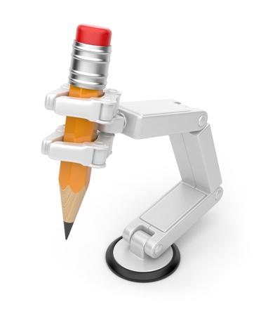 mano robotica: La celebraci�n de un l�piz a mano rob�tica inteligencia artificial 3d aislado sobre fondo blanco