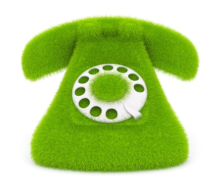 phone number: Vintage green phone of grass  Icon; 3d illustration isolated on white