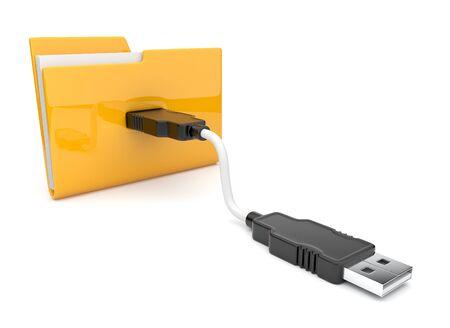 Folder 3d icon  USB connect  photo