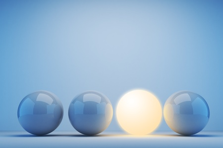 different idea: Luminous sphere. Innovation concept. 3d illustration