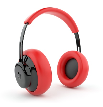 portable audio: Red headphones 3D. Icon. Isolated on white background