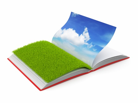 open day: Book of  nature 3D. Photo album. Isolated on white background