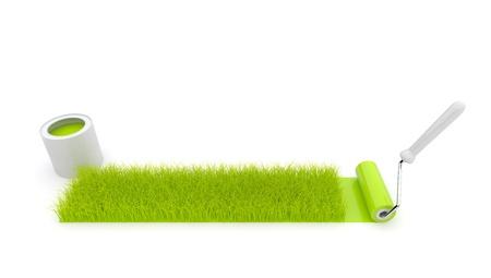 grass plot: Paint roller draw a grass. Isolated