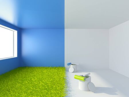 Painting of a room. Interior 3d  photo