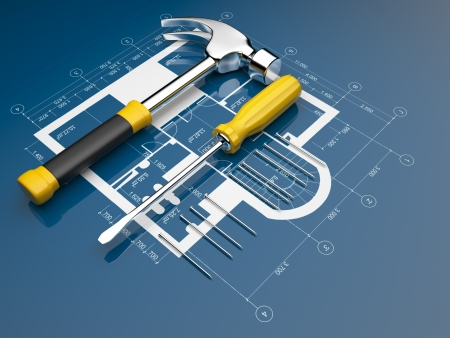 screw driver: Plan of construction. 3D illustration Stock Photo