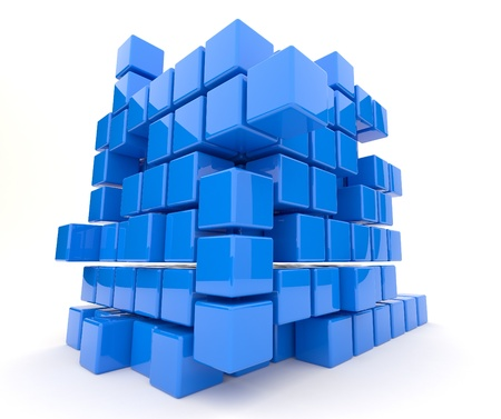 Dark blue cubes 3D. Isolated