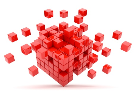 white cube: Red cubes 3D. Isolated on white background