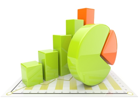 impost: Business diagram 3d. graph Isolated