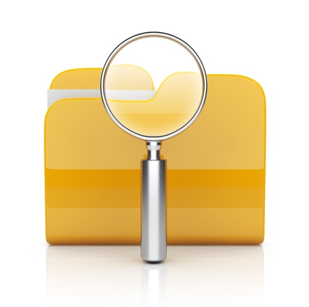 Folder and file search with magnifying glass. 3D icon isolated on white background photo