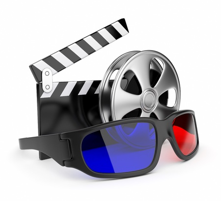 entertainments: 3D glasses of stereoscopic cinema. Icon isolated on white background