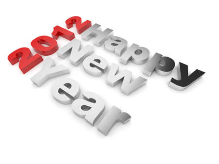 Happy New year 2012 text. 3d illustration isolated on white illustration