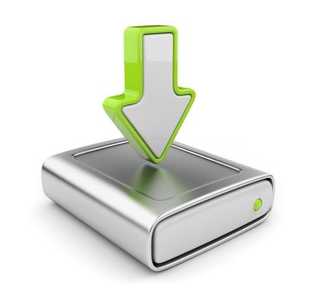 disco duro: Disco duro de la unidad y la flecha. Carga de datos icono 3D. Aislado sobre fondo blanco