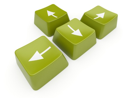 Green computer arrow key. Isolated Stock Photo - 12780520