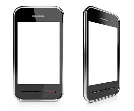 Black mobile smartphone with empty white screen 3D. Icon. Isolated on white photo