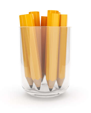 chancellery: Many yellow pencils in the glass cup  3D isolated on white background  Stock Photo