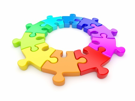 team working together: Colorful puzzle ring 3D  Team concept  Isolated on white background
