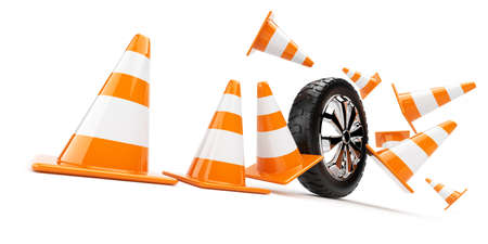 Automobile wheel has collided cones  3d isolated photo