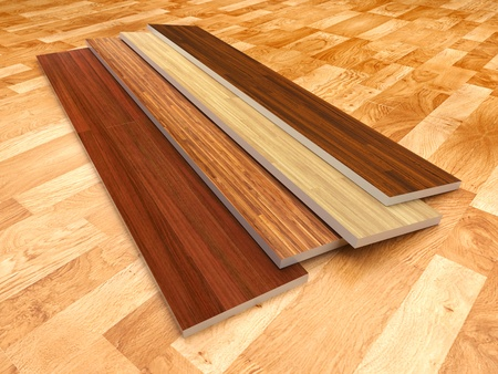 laminate flooring: Wood floor  3D illustration, color - brown