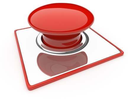 Red Button isolated over white background  Danger photo