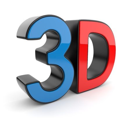 stereoscopic: 3D symbol of stereoscopic cinema. Icon isolated on white background Stock Photo